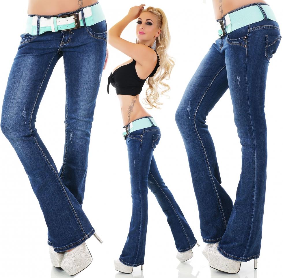 Lässige Bootcut-Jeans Hose mit breitem Stretch-Gürtel blue washed