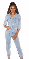 Bequemer Jeans-Overall mit Knopfleiste - light blue