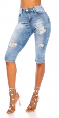 Capri- Used- Jeans mit Push-Up Look - blue washed