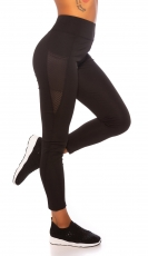 Figurbetonte High Waist Fitness-Leggings - schwarz