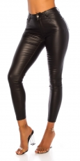 Figurbetonte -Must Have- Lederlook Hose - schwarz