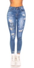 High Waist Skinny Jeans im Used-Look mit Schrift-Prints - blue washed