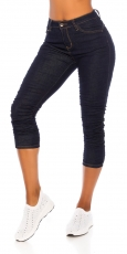 Capri Stretch-Jeans mit modischen Raffungen - dark blue