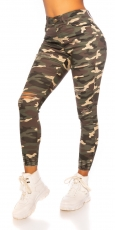 High Waist Stretch-Jeans im Used-Look - camouflage