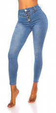High Waist-Jeans mit aufgesezter Knopfleiste in blue washed