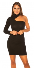 Elegantes One-Shoulder Bodycon Minikleid - schwarz