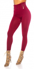 Highwaist Thermo Leggings mit Zier-Zippern in bordeaux