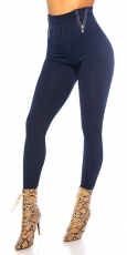Highwaist Thermo Leggings mit Zier-Zippern in marine