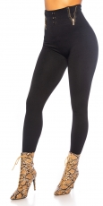 Highwaist Thermo Leggings mit Zier-Zippern in schwarz