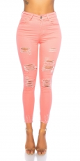High Waist Skinny Jeans im Used-Look - coral