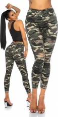 Sexy Skinny-Jeans im Used-Look - camouflage