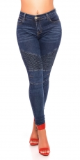 High Waist Skinny-Jeans im Crinkle-Parteien - blue washed