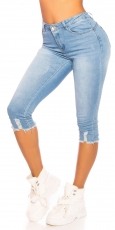 Capri- Stretch-Jeans im modischen Used-Look - light blue