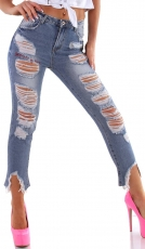 Moderne 7/8 Jeans im Destroyed-Look - light blue