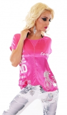 Süsses Glossy Oversize-Shirt mit Print - pink