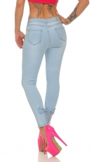 Modische Slim Fit Stretch Jeans mit Schleife - light blue