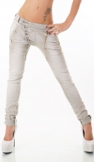 Crash-Jeans mit diagonaler Knopfleiste in beige