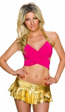 Sexy GoGo-Set: Minirock & Neckholder-Top in pink/gold