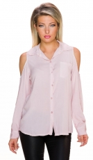 Schicke Bluse mit großen Schulter Cut-Outs - rosa