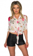 Tansparente Bluse mit Schulter-Cut-Outs - weiß