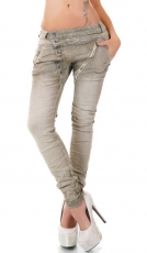 Crash-Jeans mit diagonaler Knopfleiste in graubeige