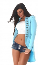 Moderner Millitary-Cardigan in High-Low Style - caribic blue