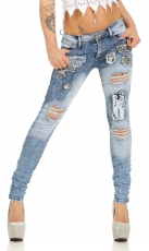 Crash-Jeans mit Graffiti-Print und Strass-Verzierung - blue washed