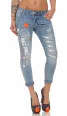 7/8 Jeans mit Funky Skull-Print und Pailletten in light blue