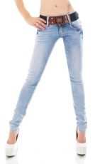 Skinny-Jeans in Bleach-Optik mit breitem Gürtel in iceblue