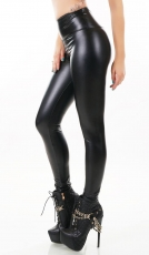 Modische Thermo-Leggings im sexy Wetlook - schwarz