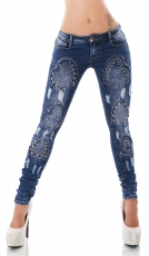 Sexy Crash-Jeans mit Vintage-Effekten und Nieten-Applikationen in blue washed