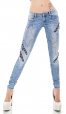 Crash-Jeans mit Vintage-Effekten, Nieten und Zier-Zippern in blue washed
