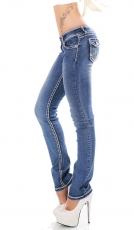 Stretch-Jeans im Bootcut-Style Flap Pokets und Kontrastnähte in blue washed
