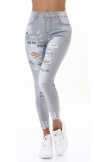 High Waist Skinny Jeans im Used-Look mit Schrift-Prints - light grey