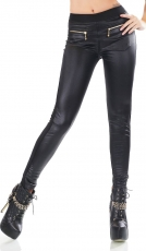 Warme Winterleggings im Wetlook mit Zier-Zippern in schwarz