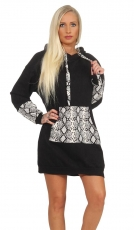 Long Hoodie Sweater mit Applikationen in Schlangen-Optik - schwarz