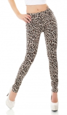 Stretch-Jeans im rassigen Animal-Design - leo beige