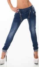 Crash-Jeans mit diagonaler Knopfleiste in dark blue