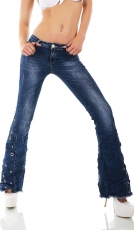 Crazy Flare Cut Hippie Jeans mit Lochnietenverzierung in blue washed