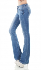Damen Slim Fit Bootcut-Jeans in light blue