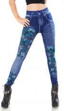 High Waist Thermo-Leggings im Jeans-Look mit Blüten-Print - blue washed