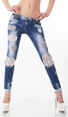 Süsse Destroyed-Jeans mit Spitzen-Verzierung und Strass in blue washed