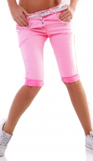 Stretch-Capri im Crash-Design mit Knopfleiste in softpink