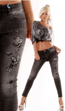 Moderne Crash-Jeans mit süssen Strass-Bumblebees in black denim
