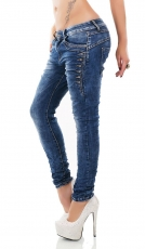 Freche Baggy-Jeans mit Strass-Nieten in dark blue