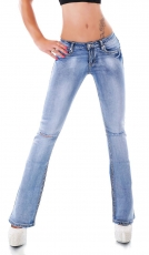 Modische Bootcut-Jeans mit frechen Vintage-Effekten in light blue
