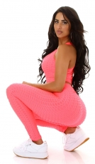 Sexy Set aus Tank-Top und Push-Up Leggings - neon pink