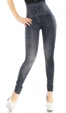 High Waist Leggings im Jeans-Look - black washed