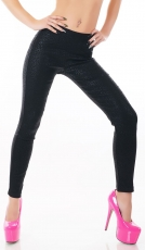 High Waist Stretch-Treggings mit glänzenden Animal-Prints in schwarz