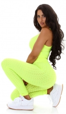 Sexy Set aus Tank-Top und Push-Up Leggings - neon gelb